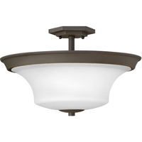 "Picture for category Semi Flush 3 Light Fixtures With Oil Rubbed Bronze Finish Steel Material Medium Bulb 17"" 300 Watts"