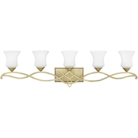 "Picture for category Bathroom Vanity 5 Light Fixtures With Silver Leaf Finish Metal Material Medium Bulb 42"" 500 Watts"