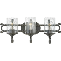 "Picture for category Olde Black Tone Finish Bathroom Vanity 23"" Wide Metal Medium Type 3 Light Fixture"