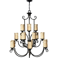 "Picture for category Olde Black Tone Finished Chandeliers 43"" Wide Metal Medium Type 15 Light Fixture"