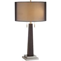 Picture for category Table Lamps 2 Light Fixtures With Black Finish Wood Steel Material A-15 Bulb 15 inch Wide 80 Watts