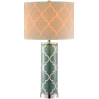 Picture for category Table Lamps 1 Light Fixtures With Green and Silver Finish Glass Steel Material 14 inch Wide 60 Watts