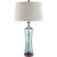 Picture for category Table Lamps 1 Light Fixtures With Blue Finish Glass MDF Steel Material A-15 Bulb 17 inch Wide 150 Watts