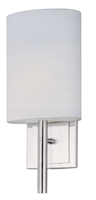 "Picture for category Satin Nickel Tone Finish Wall Sconces White Shade LED Bulb 7"" Wide 2 Light Fixture"