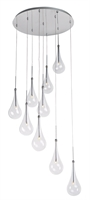 "Picture for category Polished Chrome Tone Finish Pendants Clear Glass G4 Bulb 22"" Wide 9 Light Fixture"
