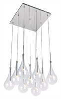 "Picture for category Polished Chrome Tone Finish Pendants Clear Glass G4 Bulb 12"" Wide 9 Light Fixture"