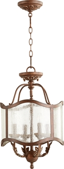 "Picture of Vintage Copper Tone Finish Semi Flush Mounts 14"" Wide Candelabra Base 4 Light Fixture"