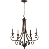 Picture for category Chandeliers 5 Light With Oiled Bronze Finish Candelabra Base Bulbs 26 inch 300 Watts