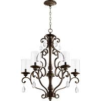 Picture for category Chandeliers 5 Light With Vintage Copper Finish Candelabra Base Bulbs 28 inch 300 Watts