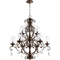 Picture for category Chandeliers 9 Light With Vintage Copper Finish Candelabra Base Bulbs 32 inch 540 Watts