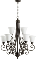 Picture for category Chandeliers 9 Light With Oiled Bronze Finish Satin Opal Glass Medium Base Bulbs 31 inch 540 Watts