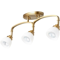 Picture for category Fan Accessories 3 Light With Aged Brass Finish Satin Opal Glass GU10 Bulbs 5 inch 150 Watts