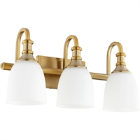 Picture for category Bathroom Vanity 3 Light With Aged Brass Finish Medium Base Bulbs 20 inch 300 Watts