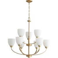 Picture for category Chandeliers 9 Light With Aged Brass Finish Satin Opal Glass Medium Base Bulbs 31 inch 540 Watts