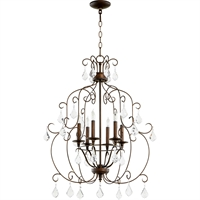 Picture for category Chandeliers 6 Light With Vintage Copper Finish Candelabra Base Bulbs 24 inch 360 Watts
