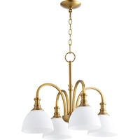 Picture for category Chandeliers 4 Light With Aged Brass Finish Medium Base Bulb Type 23 inch 400 Watts