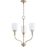 Picture for category Chandeliers 3 Light With Aged Silver Leaf Finish Medium Base Bulbs 18 inch 180 Watts