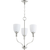 Picture for category Chandeliers 3 Light With Polished Nickel Finish Medium Base Bulbs 18 inch 180 Watts