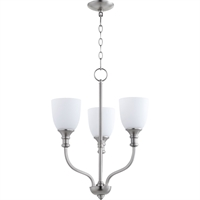 Picture for category Chandeliers 3 Light With Satin Nickel Finish Medium Base Bulbs 18 inch 180 Watts