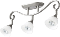 Picture for category Flush Mounts 3 Light With Classic Nickel Finish Satin Opal Shade GU10 150 Watts