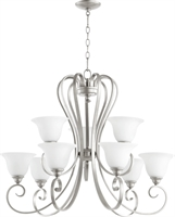Picture for category Chandeliers 9 Light With Classic Nickel Finish Satin Opal Shade Medium Base Bulbs 34 inch 540 Watts