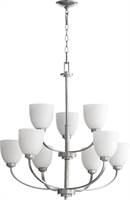 Picture for category Chandeliers 9 Light With Classic Nickel Finish Satin Opal Shade Medium Base Bulbs 31 inch 540 Watts