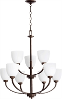 Picture for category Chandeliers 9 Light With Oiled Bronze Finish Satin Opal Shade Medium Base Bulbs 31 inch 540 Watts