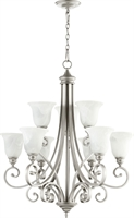 Picture for category Chandeliers 9 Light With Classic Nickel Finish Faux Alabaster Shade Medium Base Bulbs 31 inch 540 Watts