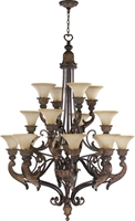 Picture for category Chandeliers 16 Light With Corsican Gold Finish Antique Amber Shade Medium Base Bulbs 40 inch 960 Watts