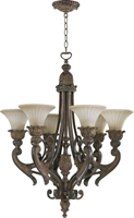 Picture for category Chandeliers 6 Light With Corsican Gold Finish Medium Base Bulbs 27 inch 360 Watts