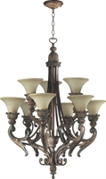 Picture for category Chandeliers 9 Light With Corsican Gold Finish Antique Amber Shade Medium Base Bulbs 30 inch 540 Watts