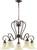 Picture for category Chandeliers 5 Light With Oiled Bronze Finish Medium Base Bulbs 28 inch 500 Watts