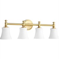 Picture for category Bathroom Vanity 4 Light With Aged Brass Finish Satin Opal Glass Medium Base Bulbs 30 inch 400 Watts