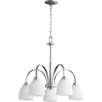 Picture for category Chandeliers 5 Light With Classic Nickel Finish Medium Base Bulbs 26 inch 500 Watts