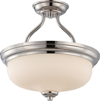 Picture for category Semi Flush 2 Light With Polished Nickel Finish GU24 Bulb Type 13 inch 39.2 Watts
