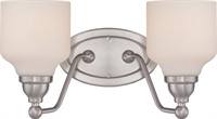 Picture for category Bathroom Vanity 2 Light With Polished Nickel Finish GU24 Satin White Glass 15 inch 39.2 Watts