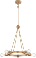Picture for category Chandeliers 5 Light With Natural Brass Finish Edison Incandescent 28 inch 200 Watts
