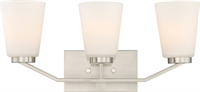 Picture for category Bathroom Vanity 3 Light With Brushed Nickel Finish Steel Medium Base 21 inch 300 Watts