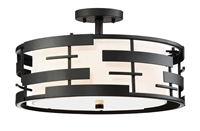 Picture for category Flush Mounts 3 Light With Textured Black Finish Steel Medium Base 16 inch 300 Watts