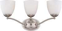 Picture for category Bathroom Vanity 3 Light With Brushed Nickel Finish Iron Medium Base 21 inch 300 Watts