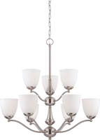 Picture for category Chandeliers 9 Light With Brushed Nickel Finish Iron Medium Base 30 inch 540 Watts