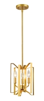Picture for category Mini Pendants 3 Light With Polished Metallic Gold Finish Steel Candelabra Base Bulb 9 inch 180 Watts