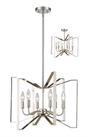 Picture for category Pendants 6 Light With Brushed Nickel Finish Steel Candelabra Base Bulb 20 inch 360 Watts