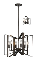 Picture for category Pendants 6 Light With Bronze Finish Steel Candelabra Base Bulb 20 inch 360 Watts