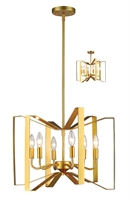 Picture for category Pendants 6 Light With Polished Metallic Gold Finish Steel Candelabra Base Bulb 20 inch 360 Watts