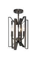 Picture for category Semi Flush 3 Light With Bronze Finish Steel Candelabra Base Bulb 9 inch 180 Watts