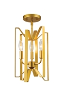 Picture for category Semi Flush 3 Light With Polished Metallic Gold Finish Steel Candelabra Base Bulb 9 inch 180 Watts