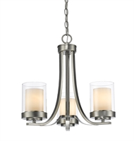 Picture for category Chandeliers 3 Light With Brushed Nickel Finish Steel Medium Base Bulb 16 inch 300 Watts