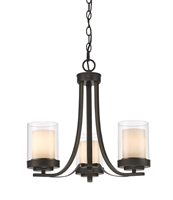 Picture for category Chandeliers 3 Light With Olde Bronze Finish Steel Medium Base Bulb 16 inch 300 Watts