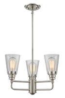 Picture for category Chandeliers 3 Light With Brushed Nickel Finish Steel Medium Base Bulb 19 inch 300 Watts